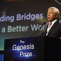 New England Patriots owner Robert Kraft, speaks after receiving Genesis Prize in Jerusalem, Thursday, June 20, 2019. (AP/Sebastian Scheiner)