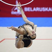 Linoy Ashram, of Israel, in action during the women's individual multiple competition in rhythmic gymnastics at the Second European Games in Minsk, Belarus, June 22, 2019. (AP Photo/Sergei Grits)