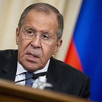 Russian Foreign Minister Sergey Lavrov speaks to the media during a press conference in Moscow, Russia, June 24, 2019. (Alexander Zemlianichenko/AP)