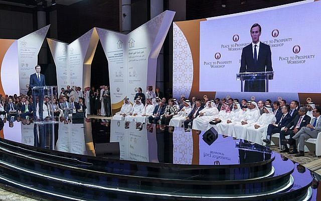 "In this June 25, 2019, photo released by Bahrain News Agency, White House senior adviser Jared Kushner talks to the audience during the opening session of the ""Peace to Prosperity"" workshop in Manama, Bahrain. (Bahrain News Agency via AP)"