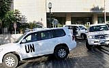 Illustrative. A convoy of chemical weapons disarmament experts depart the Four Seasons Hotel in Damascus, Syria. (AP/File)