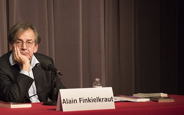Alain Finkielkraut mulls the answer to a question at an appearance in Brussels, Belgium, April 3, 2016. (Cnaan Liphshiz/JTA)