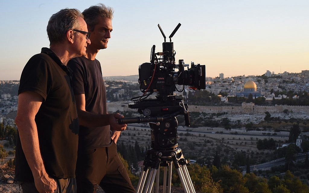 Director Avi Nesher, left, and cameraman Haim Asias on the set of 'The Other Side.' (Iris Nesher)