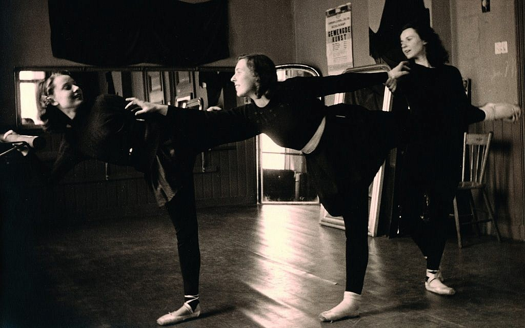 Inside the school of dance, Audrey Hepburn and Elisabeth Evers (center) practice for teacher Winja Marova (right) in December 1943. (Dotti Collection)