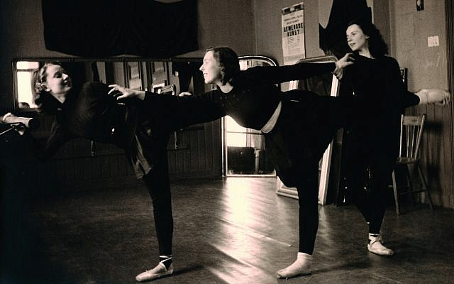 Inside the school of dance, Audrey Hepburn and Elisabeth Evers (center) practice for teacher Winja Marova (right) in December 1943. (Dotti Collection)