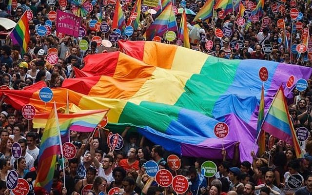 Activists at the Gay Pride march in Istanbul, Turkey, June 30, 2019. (Lambdaistanbul, courtesy)