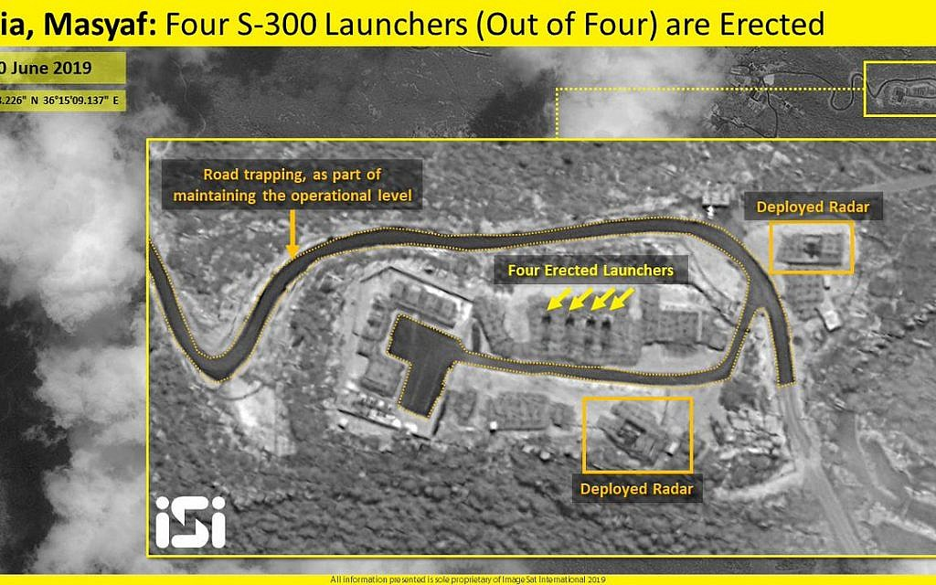 Satellite photos released by ImageSat International appear to show all four missile launchers of the S-300 air defense system in the raised position in the northwestern Syrian city of Masyaf on June 30, 2019. (ImageSat International)