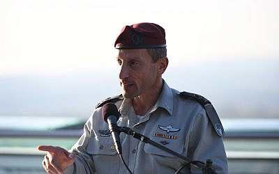 The head of IDF Northern Command, Amir Baram, speaks at a memorial ceremony for the 2006 Second Lebanon War, on June 11, 2019. (Israel Defense Forces)