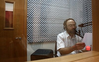 The broadcasting studio of the ultra-Orthodox radio station Kol Barama, July 1, 2009. (Yaakov Naumi/Flash90)
