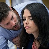 Ayelet Shaked and Bezalel Smotrich (L) attend a Constitution, Law, and Justice, Committee meeting in the Israeli parliament on July 9, 2017 (Yonatan Sindel/Flash90)