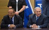 Prime Minister Benjamin Netanyahu (R) with Communications Minister Ayoub Kara at a Likud faction meeting at the Knesset on May 7, 2018. (Miriam Alster/Flash90)