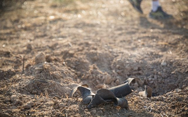 Illustrative: The remains of a rocket fired from Gaza that fell near an Israeli community in July 2018 (Hadas Parush/Flash90)