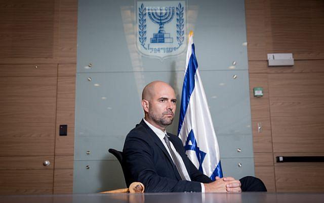 Israeli parliament member Amir Ohana at the Knesset. July 25, 2018. (Miriam Alster/FLASH90)