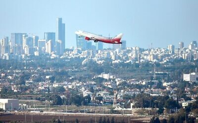 An airplane takes off from Ben Gurion International Airport, on November 15, 2018. (Flash90/File)