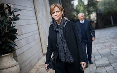 Rakefet Russak-Aminoach arrives at the appointment ceremony of Incoming head of Bank of Israel Professor Amir Yaron held in Jerusalem. Professor Yaron is replacing Karnit Flug. December 24, 2018 (Yonatan Sindel/Flash90)