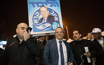 Likud Knesset member Ayoub Kara at the Likud polling station in Jerusalem for the party's primary on February 5, 2019. (Noam Revkin Fenton/Flash90)