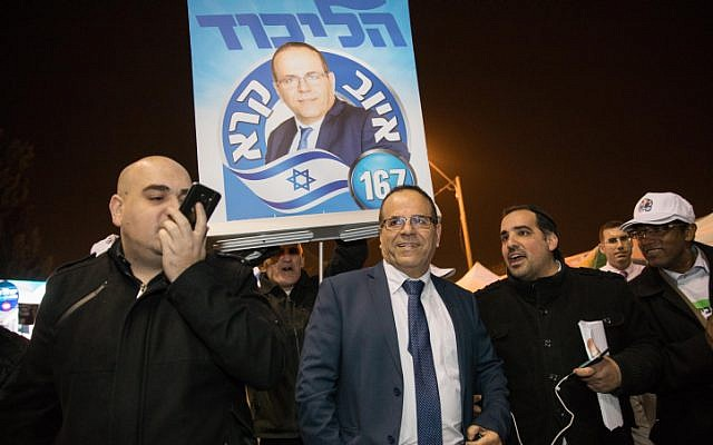 Likud Knesset member Ayoub Kara at the Likud polling station in Jerusalem for the party's primary on February 5, 2019. (Noam Revkin Fenton/Flash90)