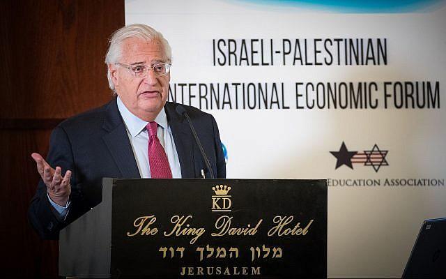 US Ambassador to Israel David Friedman addresses the Israeli-Palestinian International Economic Forum in Jerusalem on February 21, 2019. (Yonatan Sindel/Flash90)