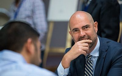 Amir Ohana, appointed acting justice minister on June 5, 2019, seen at a Likud party meeting at the Menachem Begin Heritage Center in Jerusalem on March 11, 2019. (Yonatan Sindel/Flash90)