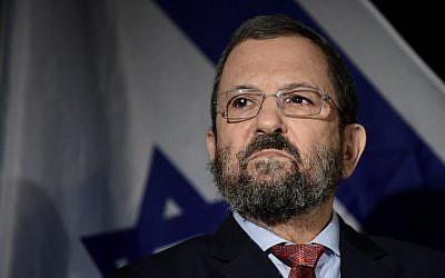 Ehud Barak in Tel Aviv on April 3, 2019 (Tomer Neuberg/Flash90)