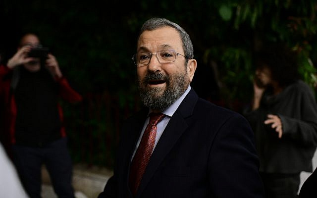Ehud Barak in Tel Aviv, on April 3, 2019. It is not the first time Barak, 77, has considered a political comeback. (Tomer Neuberg/Flash90)