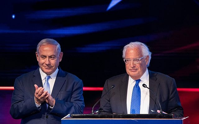 US Ambassador to Israel David Friedman (R) and Prime Minister Benjamin Netanyahu at an event in Jerusalem marking the anniversary of the transfer of the US embassy to the city, May 14, 2019. (Yonatan Sindel/Flash90)