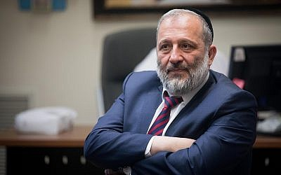 Illustrative: Interior Minister Aryeh Deri leads a Shas faction meeting at the Knesset on May 27, 2019. (Yonatan Sindel/Flash90)