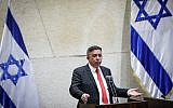 Labor party leader MK Avi Gabbay at a discussion on a bill to dissolve the parliament, at the Knesset, in Jerusalem on May 29, 2019. (Noam Revkin Fenton/Flash90)