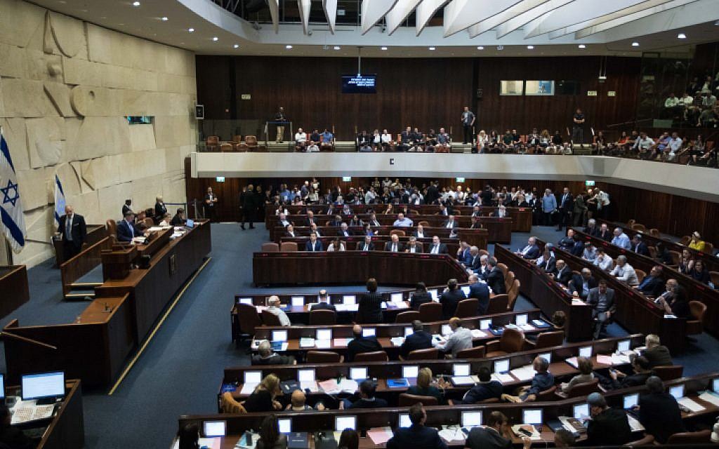 A view of the Knesset during a vote on a bill to dissolve the parliament, on May 29, 2019. (Yonatan Sindel/Flash90)