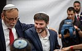 Union of Right-Wing Parties MK Bezalel Smotrich arrives for a Jerusalem Day celebration at the Mercaz HaRav Yeshiva in Jerusalem, June 2, 2019. (Aharon Krohn/Flash90)
