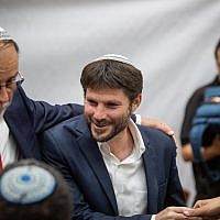 Union of Right-Wing Parties MK Bezalel Smotrich arrives for a Jerusalem Day celebration at the Mercaz HaRav Yeshiva in Jerusalem, June 2, 2019. (Aharon Krohn/Flash90)