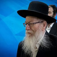Deputy Health Minister Yaakov Litzman of the United Torah Judaism party arrives for the weekly cabinet meeting at the Prime Minister's Office in Jerusalem on June 2, 2019. (Yonatan Sindel/Flash90)