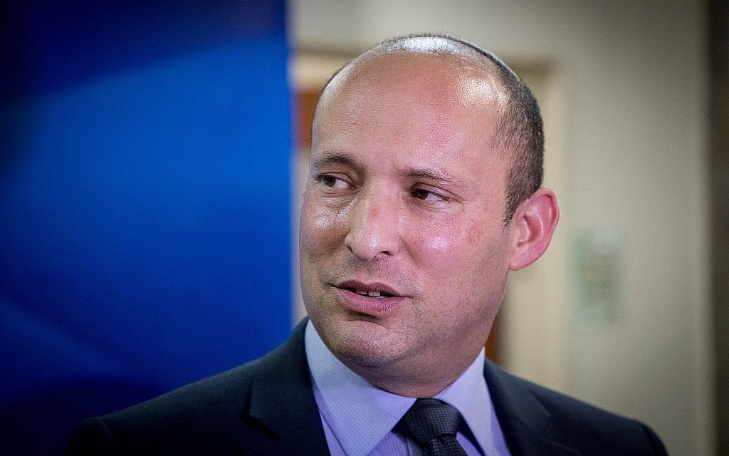 New Right party leader Naftali Bennett arrives to the weekly cabinet meeting at the Prime Minister's Office in Jerusalem on June 2, 2019, hours before he was fired as education minister. (Yonatan Sindel/Flash90)