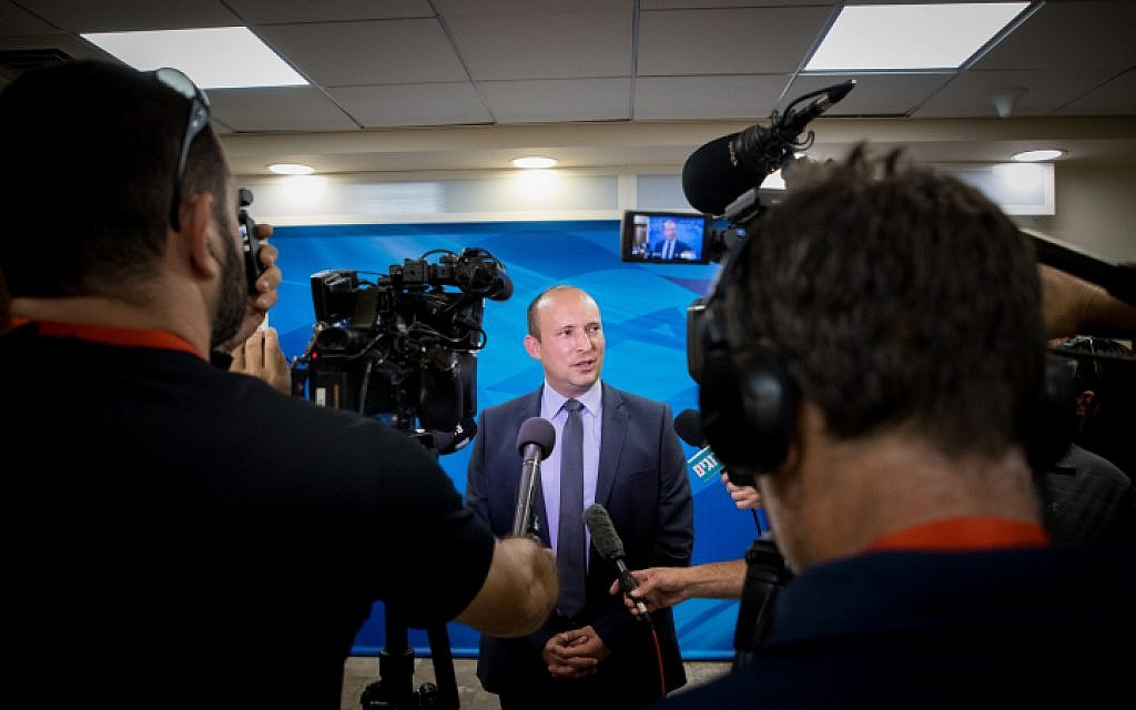 Then-education minister Naftali Bennett arrives at the weekly cabinet meeting in the Prime Minister's office in Jerusalem, on June 2, 2019. (Yonatan Sindel/Flash90)