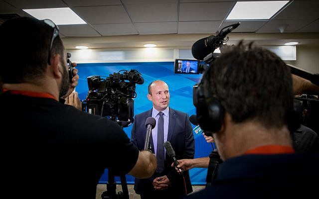 Education Minister Naftali Bennett arrives to the weekly cabinet meeting, at the Prime Minister's office in Jerusalem, on June 2, 2019. (Yonatan Sindel/Flash90)