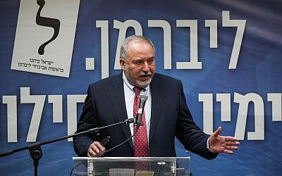 Yisrael Beytenu party chairman Avigdor Liberman speaks at a faction meeting at the Knesset, June 3, 2019. (Yonatan Sindel/Flash90)