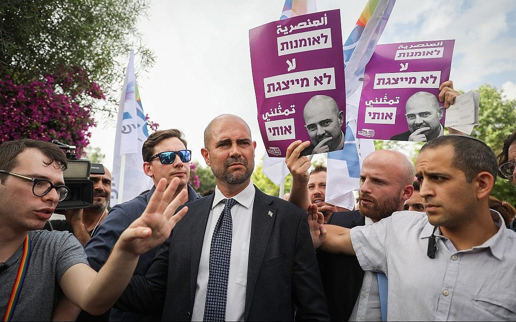 Justice Minister Amir Ohana, Israel's first openly gay minister, attends the annual Gay Pride parade in Jerusalem on June 6, 2019. (Noam Revkin Fenton/Flash90)