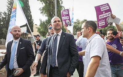 Minister of Justice Amir Ohana attends the annual Gay Pride Parade in Jerusalem, on June 6, 2019. (Noam Revkin Fenton/Flash90)