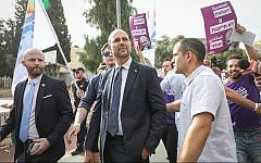 Justice Minister Amir Ohana at the annual Gay Pride Parade in Jerusalem, on June 6, 2019. (Noam Revkin Fenton/Flash90)