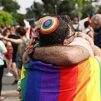 People take part in the annual Gay Pride Parade in Jerusalem on June 6, 2019. (Yonatan Sindel/Flash90)