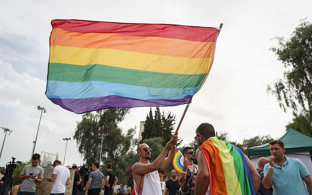People take part in the annual Gay Pride Parade in Jerusalem, on June 6, 2019. (Yonatan Sindel/Flash90)