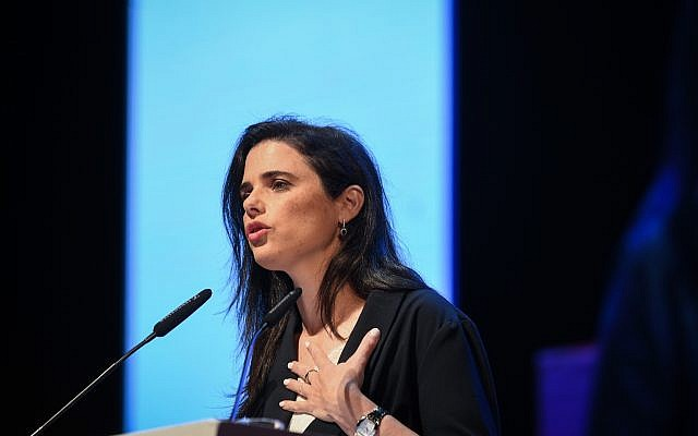 Former Justice Minister Ayelet Shaked speaks at a conference at the Tel Aviv University, on June 11, 2019. (Flash90)