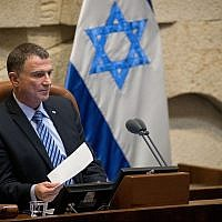 Knesset Speaker Yuli Edelstein presides over a Knesset plenum session, on June 12, 2019. (Yonatan Sindel/Flash90)