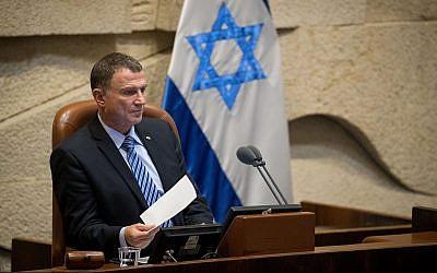 Knesset Speaker Yuli Edelstein presides over a Knesset plenum session, on June 12, 2019. (Yonatan Sindel/Flash90)