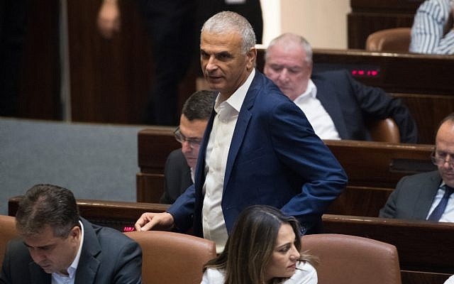 Finance Minister Moshe Kahlon in the Knesset, Israel's parliament, June 12, 2019. (Yonatan Sindel/Flash90)