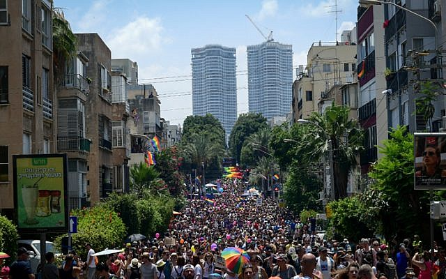 People participate in the annual Gay Pride Parade in Tel Aviv, on June 14, 2019 (Tomer Neuberg/Flash90)