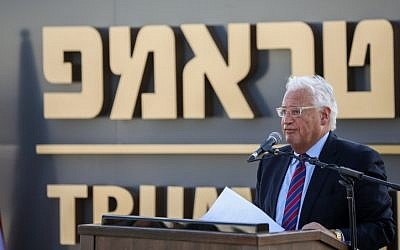 US Ambassador to Israel David Friedman speaks at the ceremony for the new town of Ramat Trump, named for US President Donald Trump, on the Golan Heights, June 16, 2019. (David Cohen/Flash90)