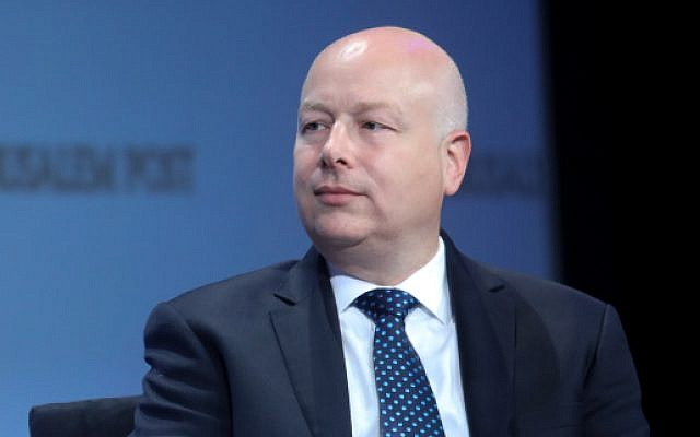 US Special Envoy Jason Greenblatt speaks at a conference in New York City, June 16, 2019.(Marc Israel Sellem/POOL)