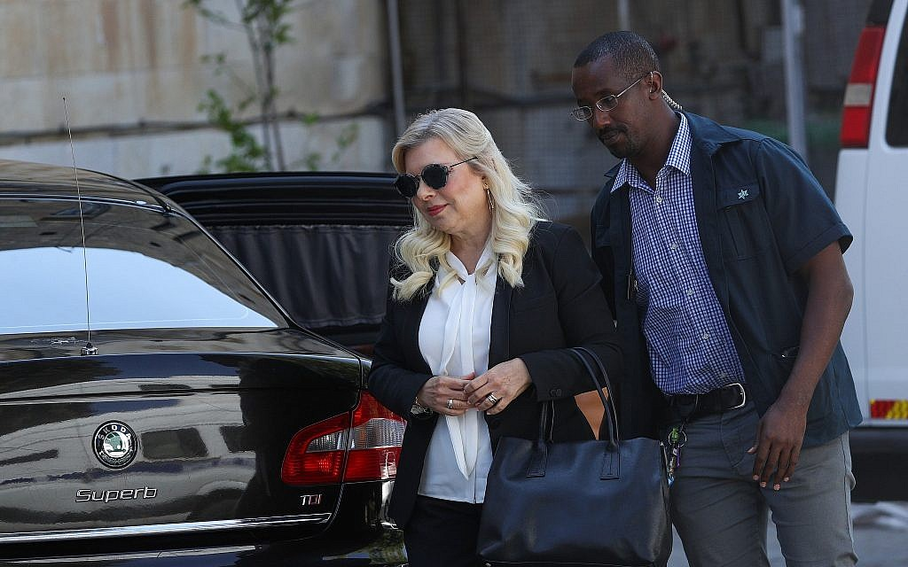 Sara Netanyahu, wife of Prime Minister Benjamin Netanyahu, arrives at the Jerusalem Magistrate's Court on June 16, 2019. (Yonatan Sindel/Flash90)