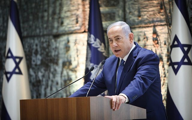 Prime Minister Benjamin Netanyahu speaks at a ceremony in memory of Israeli presidents and prime ministers who passed away at the president residence in Jerusalem on June 17, 2019. (Noam Revkin Fenton/Flash90)